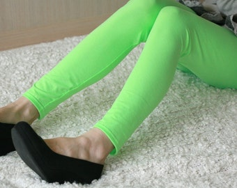 CLEARANCE SALE - Neon green soft cotton leggings