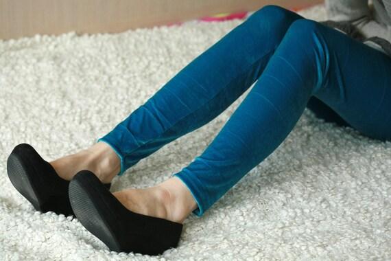 Ocean blue velvet leggings