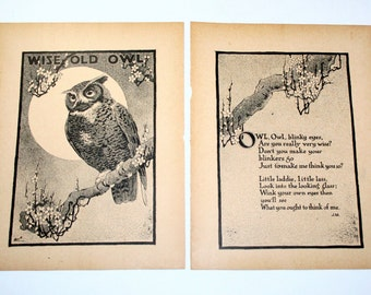 Vintage Nursery Print - Wise Old Owl  - 1917
