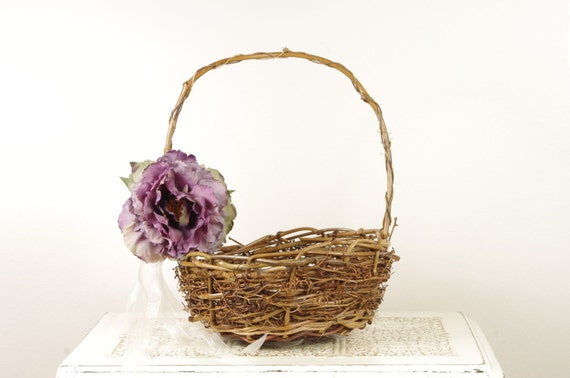 Flower Girl Basket with Purple Peony - Floral and Wicker Style - Beautiful Rustic Bird Nest Style