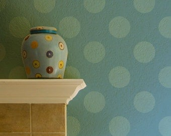 Wall Stencil Large Polka Dot Stencil Polka Party to Paint Allover Dots for a Wallpaper Look