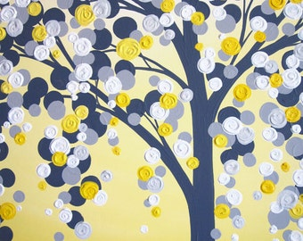 Yellow and Grey Art, Textured Tree, Acrylic Painting on Canvas,  MADE TO ORDER