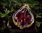 Dried Rose shadowbox herb locket