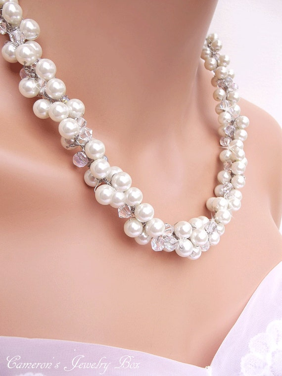Chunky White Pearl Necklace with Swarovski by ...