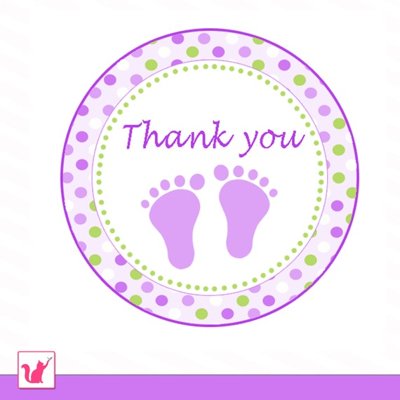 thank you tag label polka dots baby feet boy girl unisex baby shower