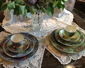 Handpainted Vintage Rose Dinnerware or Tea For Two