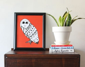 Owl Art Print //  Modern Animal Art