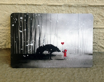 """Little Red Riding Hood """"I Love You"""" postcards of 4 set"""