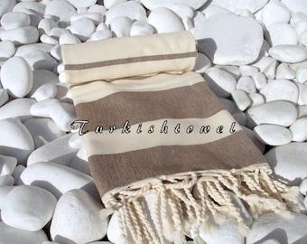 NEW-Turkishtowel-High Quality,Hand Woven,Natural,Organic,Cotton Bath,Beach,Spa,Yoga,Travel Towel or Sarong-Cream,Soft Brown