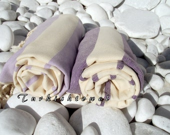 Set of 2-NEW-Turkishtowel-High Quality,Hand Woven,Natural,Organic,Cotton Bath,Beach,Travel Towels or Sarongs-Cream,Purple and Wisteria