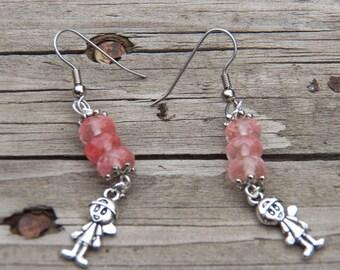 Little Girl Earrings, Inexpensive Earrings, Beaded Earring, Pink Earrings, Silver Earrings, Dangle Earring, Cheap Earrings, Charm Earrings ,