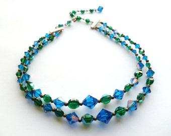 Vintage Swarovski Blue and Green Aurora Borealis Crystal Double Strand Necklace