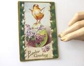 Vintage Easter Postcard, Easter Greeting, Chick, Egg, Lilacs, Unused