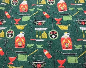 Small Green Retro Barkcloth Tablecloth