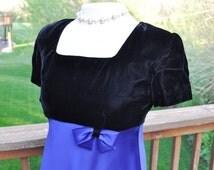 Vintage Black Velvet Dress. Size 4 Evening Wear. Blue Satin Ball Gown. Vintage Prom or Homecoming Dress.