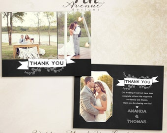 INSTANT DOWNLOAD - Thank You Card Photo Template 1