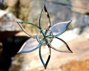 Large Spade Shaped Beveled Glass Six Pointed Star