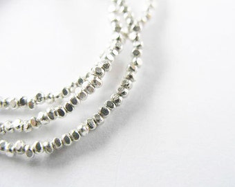 """300 of Karen Hill Tribe Silver Faceted Seed Beads 1.4 mm. 13"""" :ka3417"""