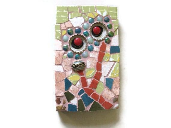 Mosaic Wall Art Hanging Ceramic Tile Flower Whimsical Art Mixed Media Bottle Cap Home Decoration Natural Stones