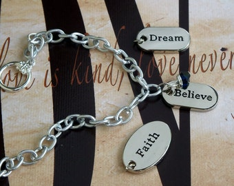 Faith - Dream - Believe - Reye's Syndrome, Stevens Johnson Syndrome, Arthritis, Colon Cancer Awareness Bracelet