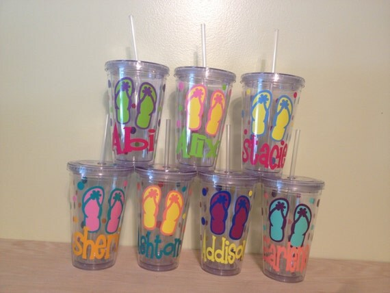 Summer Flip Flops Quantity 7 Personalized W Name Acrylic