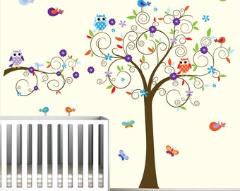 Vinyl Wall Decal Tree with Owls,Flowers,Birds-Nursery Wall Decals