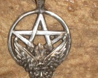 UNIQUE Sterling Silver Pentagram w/ Greenman