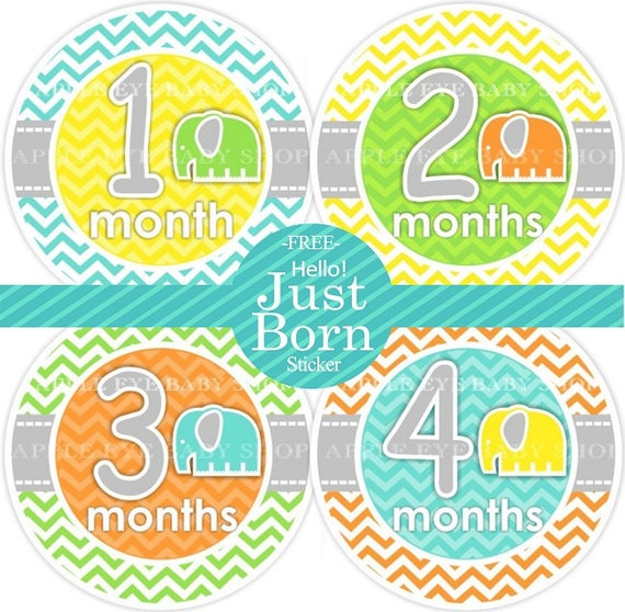 ON SALE Monthly Baby  Stickers PLUS Just Born (1st year Cute Elephants) chevron pattern.grey.turquoise.green.yellow.white.orange. Neutral.