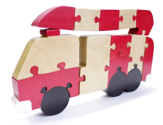 Fire Truck Decor and Puzzle in Red