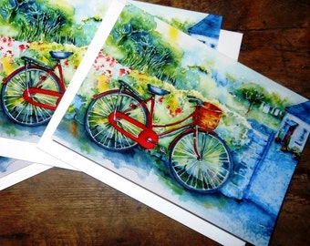 "Two Luxury Linen finish Greeting Cards ""My Red Bicycle"" 7 x 4.5.ins - Set of 2  -blank for your message-"