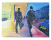 Business as usual-Abstract figurative painting on canvas