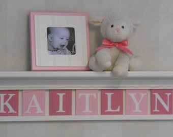 "Pink Baby Girl Nursery Decor 30"" Linen (Off White) Shelf With 7 Wooden Letters Pink and Pastel Pink - KAITLYN"