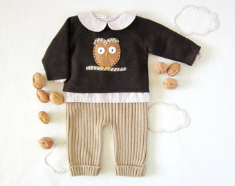 Knitted sweater, ribbed pants set in camel and brown with a felt owl. 100% wool. READY TO SHIP size newborn.