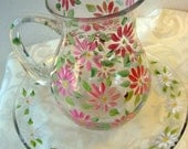 Hand painted pink/ peach pitcher with daisies, mothers day gift, cottage decor