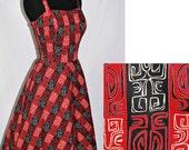 Vintage 50s 1950s Hawaiian Tiki Sun Dress sz small Novelty Print Rockabilly S/M