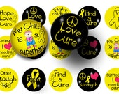 Childhood cancer bottle cap images- Digital download-1 inch circles-Collage sheet-Digital collage-Scrapbooking-Pendants-BUY 3 get 1 FREE