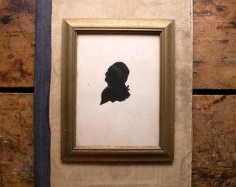Vintage Gold Framed Silhouette - Historical Man Profile
