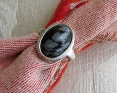 Snowflake Obsidian in Argentium Sterling Ring Size 4 & 3 Quarters