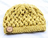 Chunky Knit Hat-Citron-With Button-