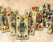 Playing Cards Antique 1 x 2 DIY Decoupage Domino 1x2 inch Size Digital Collage Sheet Printable Instant Download 089