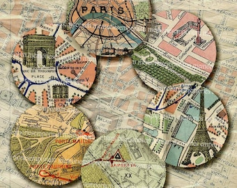 Paris Street Maps 1.5 Inch Circles Jewelry Bezels Buttons Badges Magnets Mirror Powder Compacts Digital Collage Sheet 210