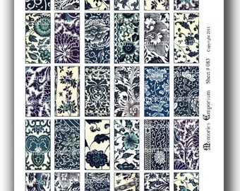 Blue and White Floral Asian Chinese Flower Oriental Patterns 1 x 2 inch Pendant Size Domino Collage Sheet Download Printable 083