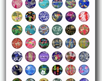 Hawaiian Shirt Fabric Circles Inchies Retro Summer Vintage Beach Surf Sand 1 inch for Pendants DIY Buttons Magnets Digital Collage Sheet 102