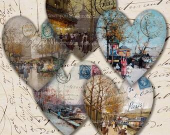 I Love Paris Antique Hearts Decoupage Vintage Street Scenes Postage Stamps Printable Digital Collage Sheet Instant Download 207