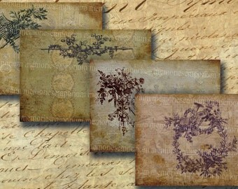 Shabby Chic Postcard Size Faded Toile Engravings Old Wallpapers Digital Collage Sheet Printable Instant Download 122