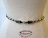 Vintage French 1980s chunky silver tone snake chain belt