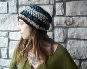 Natural Wool Slouchy Hat / womens slouch beanie tam hat / teal brown grey earth tones earthtone