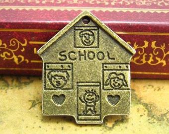 10 pcs Antique Bronze School Charms 23x20mm CH1398