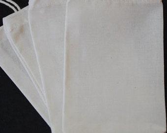 "50 3""x4"" 4""x6"" 2""x3"" Organic Cotton Muslin Bag Biodegradable Ecofriendly Packaging Culinary Reusable Wedding Favor Shower Bulk"