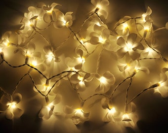 white frangipani flower string lights for patioweddingparty and decoration 20 bulbs - Flower Christmas Lights